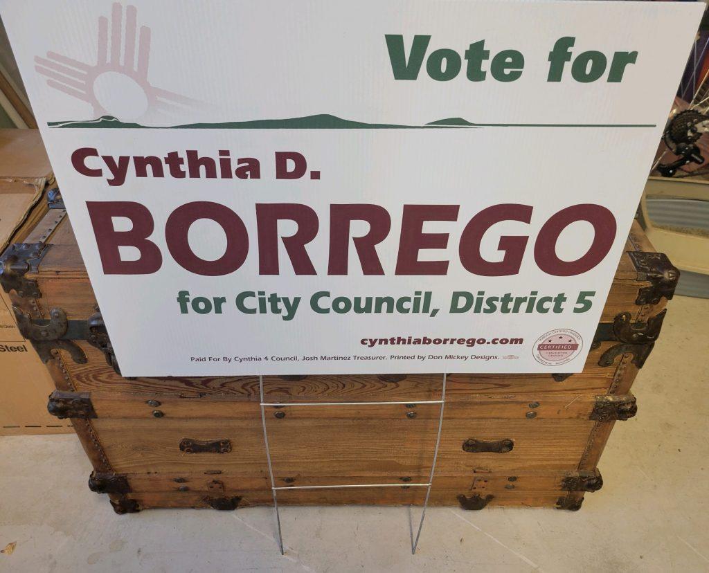 Cynthia Borrego Campaign Yard Sign