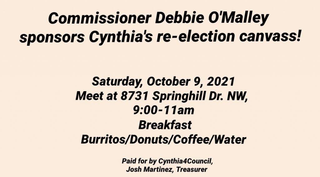 Commissioner Debbio O'Malley sponsors Cynthia's re-election canvass Albuquerque New Mexico